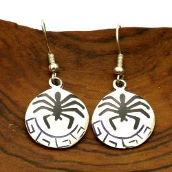 Hopi Spider Design Alpaca Silver Earrings (Mexico)