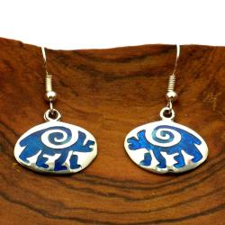 Hopi Bear Design Alpaca Silver Earrings (Mexico)