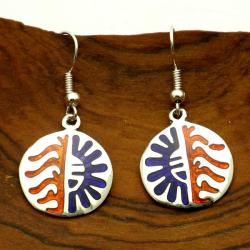 Handmade Hopi Sun Design Alpaca-silver Dangle Earrings (Mexico)