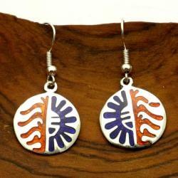 Handmade Hopi Sun Design Alpaca-silver Dangle Earrings (Mexico)