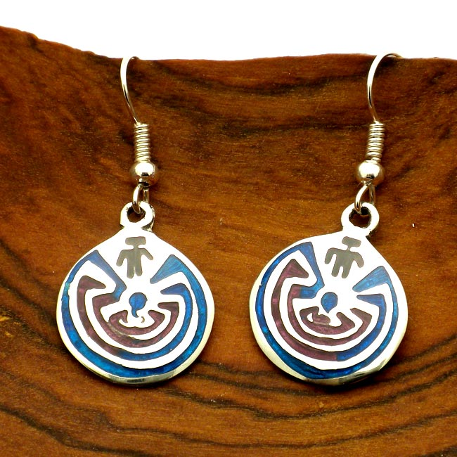 Hopi Maze Design Alpaca Silver Earrings (Mexico)