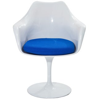 Eero Saarinen Style Tulip Arm Chair with Blue Cushion