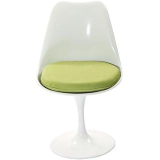 Eero Saarinen Style Tulip Side Chair with Green Cushion