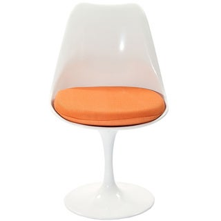 Eero Saarinen Style Tulip Side Chair with Orange Cushion