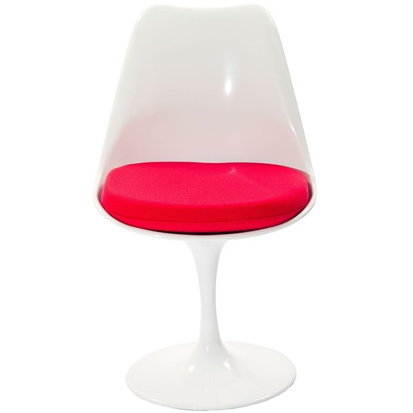Eero Saarinen Style Tulip Side Chair with Red Cushion
