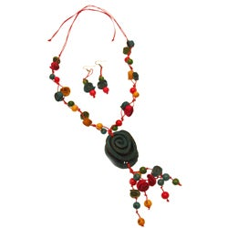 Blue & Orange Peel Acai Necklace and Earring Set (Colombia)