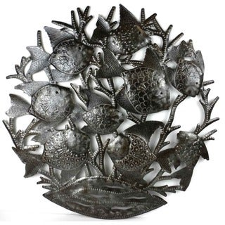 , Handmade in Haitian Metal Art 'School of Fish' Wall Art , Handmade in Haiti