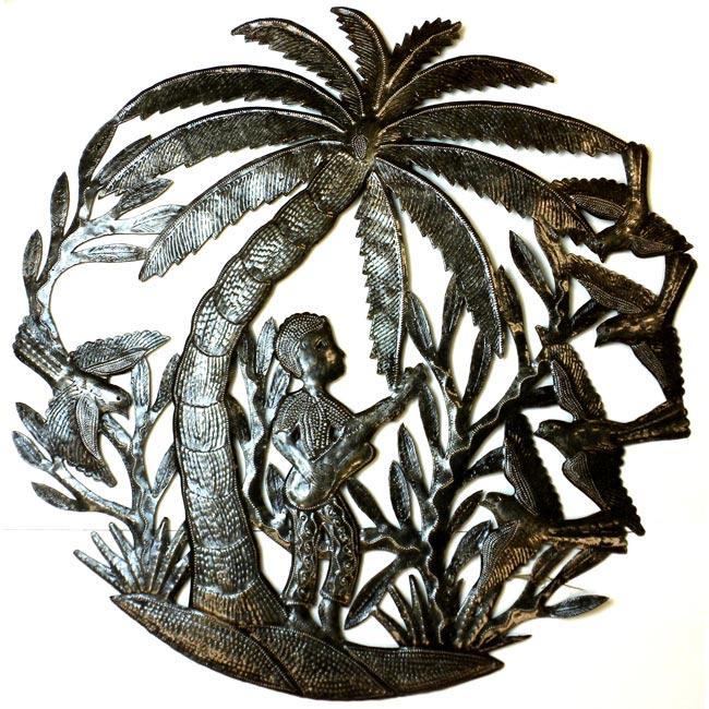 Haitian Metal Art 'Guitar Player Under a Palm Tree' Wall Art (Haiti)