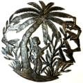 Haitian Metal Art 'Guitar Player Under a Palm Tree' Wall Art (Haiti)