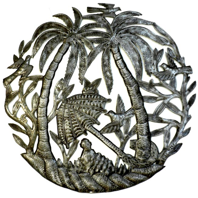 Steel Drum Art 'Palm Trees and Umbrella' Wall Art
