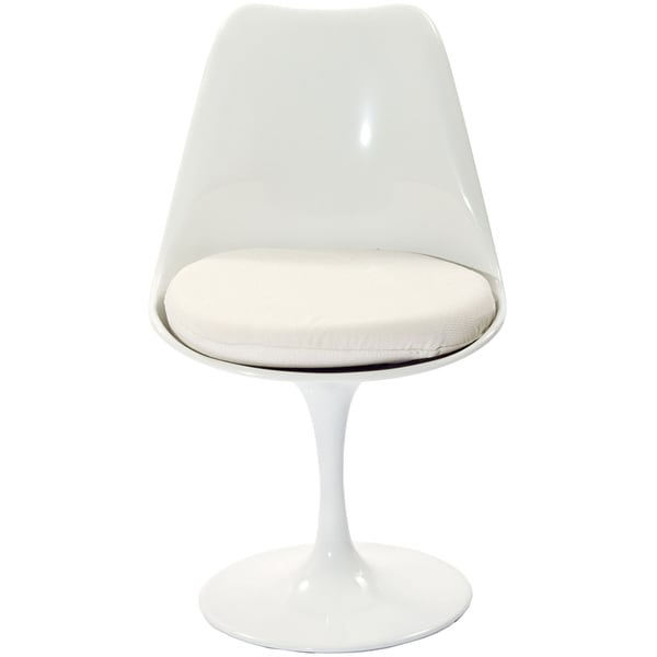 Eero Saarinen Style Tulip Side Chair with White Cushion