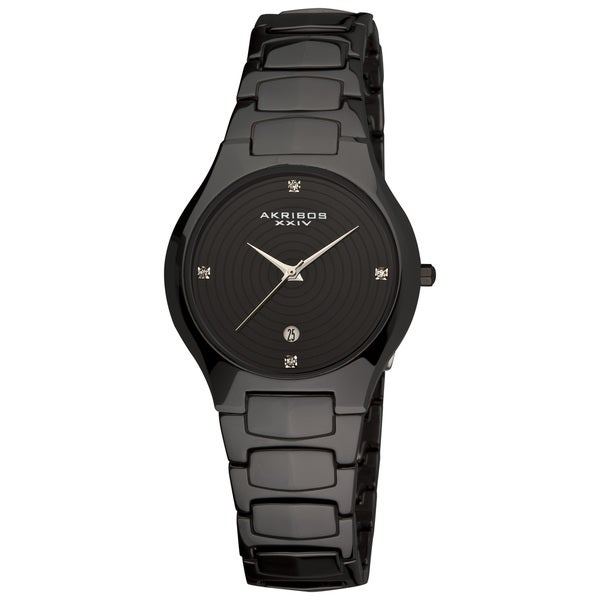 Akribos XXIV Women's Quartz Slim Ceramic Black Watch
