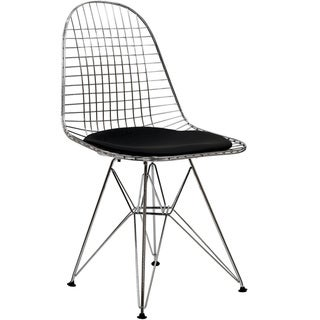 Wire Tower Black Vinyl Cushion Side Chair