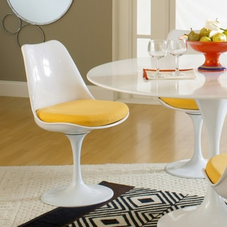 Eero Saarinen Style Tulip Side Chair with Yellow Cushion