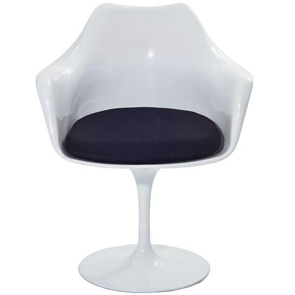 Eero Saarinen Style Tulip Arm Chair with Black Cushion