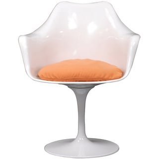 Eero Saarinen Style Tulip Arm Chair with Orange Cushion
