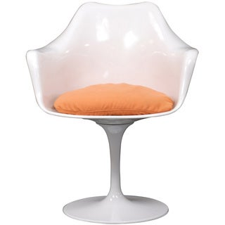 Eero Saarinen Style Tulip Arm Chair with Orange Cushion