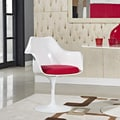 Eero Saarinen Style Tulip Arm Chair with Red Cushion
