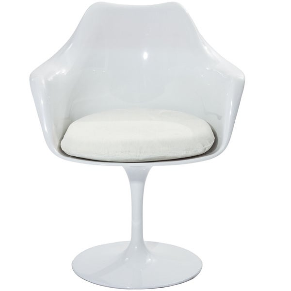 Eero Saarinen Style Tulip Arm Chair With White Cushion 14230585 Overstock