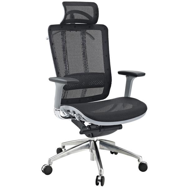 Grey Modern Office Chair with Headrest