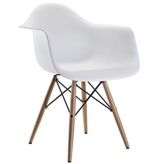 Wood Pyramid Arm Chair in White