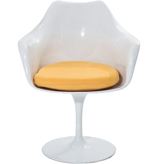 Eero Saarinen Style Tulip Arm Chair with Yellow Cushion