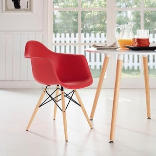 Wood Pyramid Arm Chair in Red