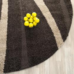 Ultimate Dark Brown/ Cream Shag Rug (4' Round)