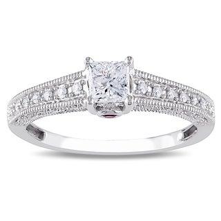 Miadora 14k Gold 1/2ct TDW Diamond and Pink Sapphire Engagement Ring (G-H, I1-I2)