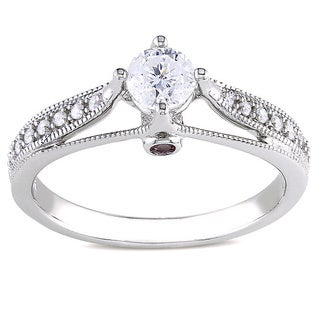 Miadora 14k Gold 1/2ct TDW Diamond and Pink Sapphire Engagement Ring (H-I, I2-I3)