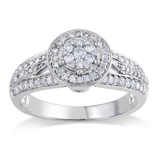 14k White Gold 1/2ct TDW Diamond Halo Ring (G-H, I1-I2)