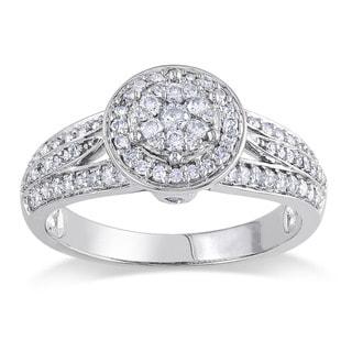 14k White Gold 1/2ct TDW Diamond Halo Ring (G-H, I1-I2)