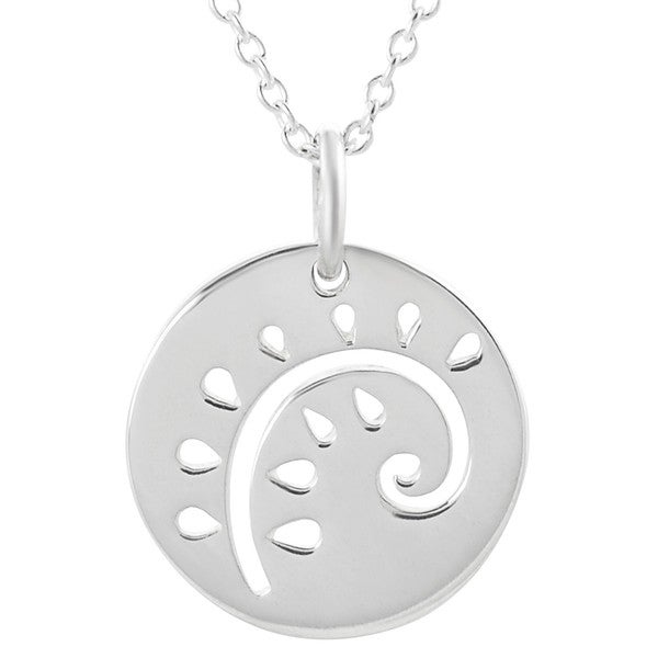 Journee Collection Sterling Silver Cut-out Decorative Disc Necklace