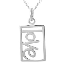 Journee Collection Sterling Silver Cut-out 'Love' Tag Necklace