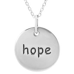 Tressa Sterling Silver 'Hope' Disc Necklace