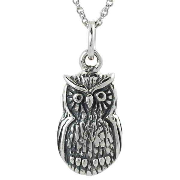 Journee Collection Sterling Silver Owl Necklace