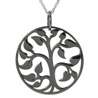 Tressa Ruthenium Black Platinum-plated Silver Tree of Life Necklace