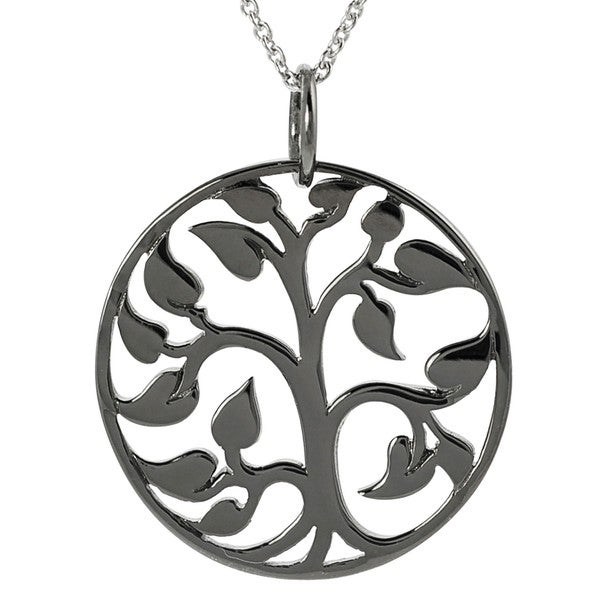 Journee Collection Ruthenium Black Platinum-plated Silver Tree of Life Necklace
