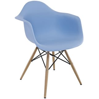 Wood Pyramid Blue Arm Chair
