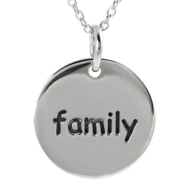 Journee Collection Sterling Silver 'Family' Disc Necklace