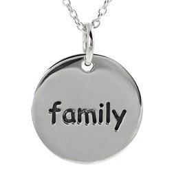 Tressa Sterling Silver 'Family' Disc Necklace