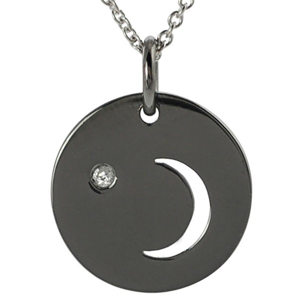 Tressa Sterling Silver Diamond Chip Moon and Star Disc Necklace