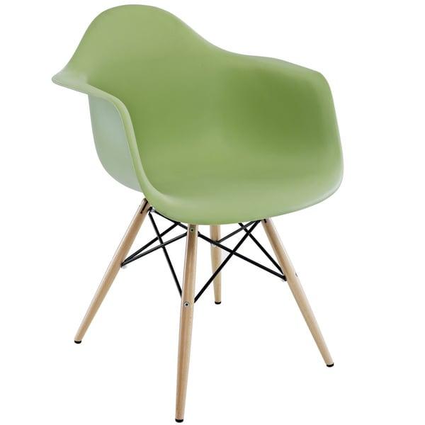 Wood Pyramid Green Arm Chair