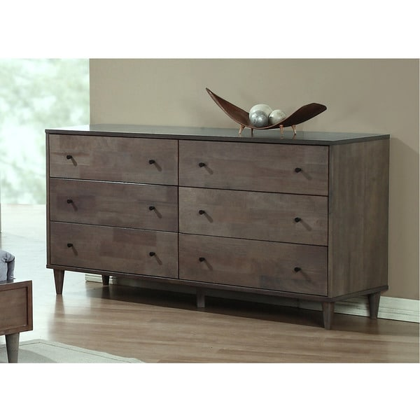 Contemporary bedroom dresser 6 drawer chest storage for Bedroom 6 drawer dresser