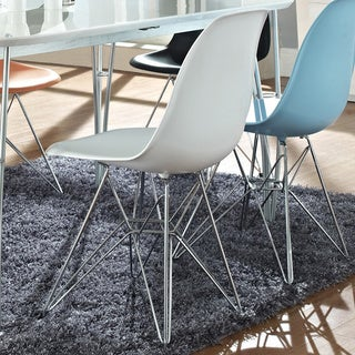 White Plastic Side Chair with Wire Base