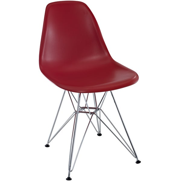 Red Plastic Side Chair with Wire Base