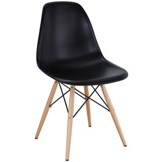 Black Plastic Side Chair with Wooden Base
