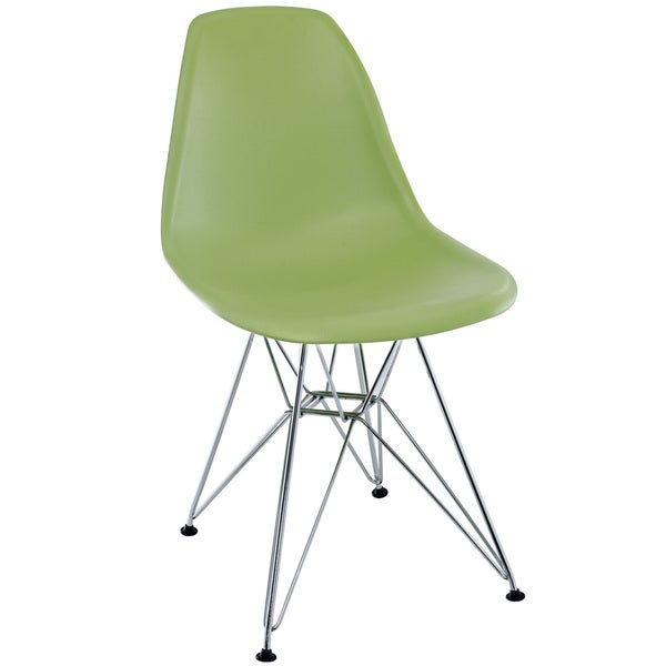 Green Plastic Side Chair with Wire Base
