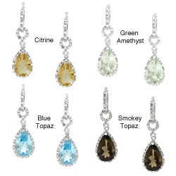 Sterling Silver Gemstone and 1/6ct TDW Diamond Earrings (H-I, I2-I3)
