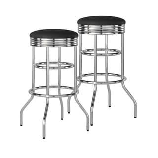 Trinity 29-inch Black/ Chrome Swivel Barstools (Set of 2)